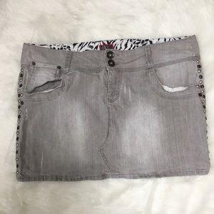 Torrid Grey Denim Mini Skirt Studded Distressed